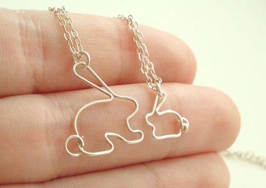 Mother daughter bunny rabbit necklace set  Mother's by MisoPretty, $43.00