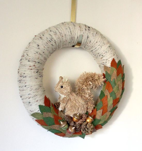 Squirrel Wreath Autumn #Wreath Fall Wreath by TheBakersDaughter, $48.00 #handmade