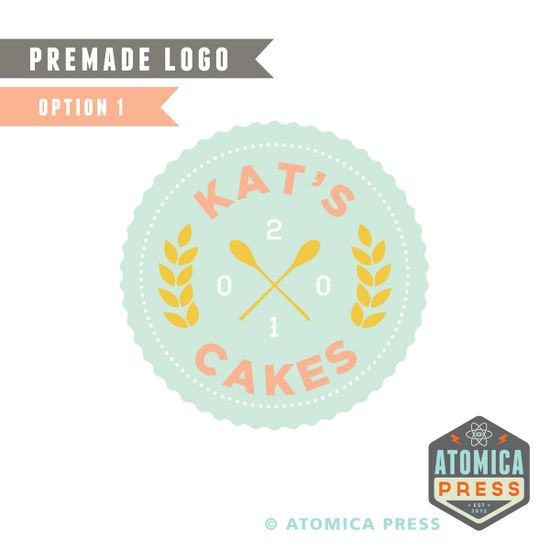 Custom Pre Designed Bakery Logo - Premade - Mint - Mustard - Coral. $30.00, via Etsy.