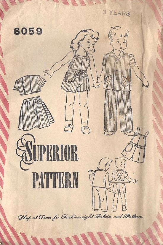 1940s Brother Sister Summer Clothing Set by MissBettysAttic, $15.00
