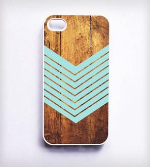 Dark Wood + Chevron iPhone Case - Teal