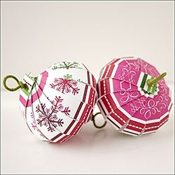 Use scrapbook paper scraps to make these easy Christmas ornaments.