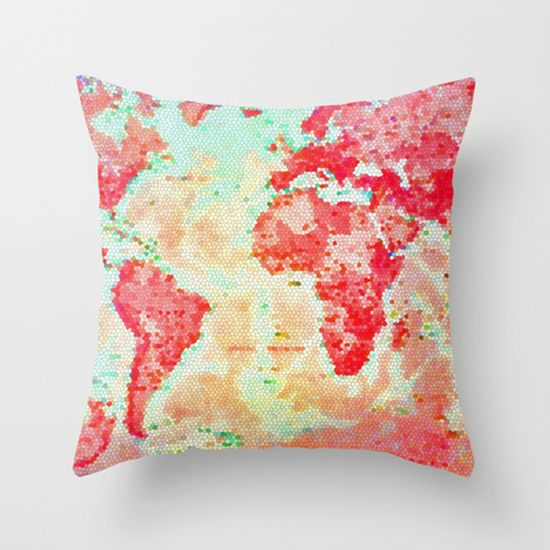 Bright Map of the World Pillow