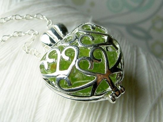 Worry Locket  peridot gemstones in filigree heart by GhostShip, $25.00