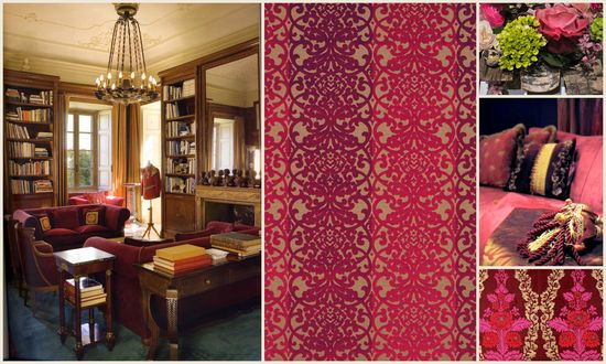 Interior decorating inspirations in Garnet Red.