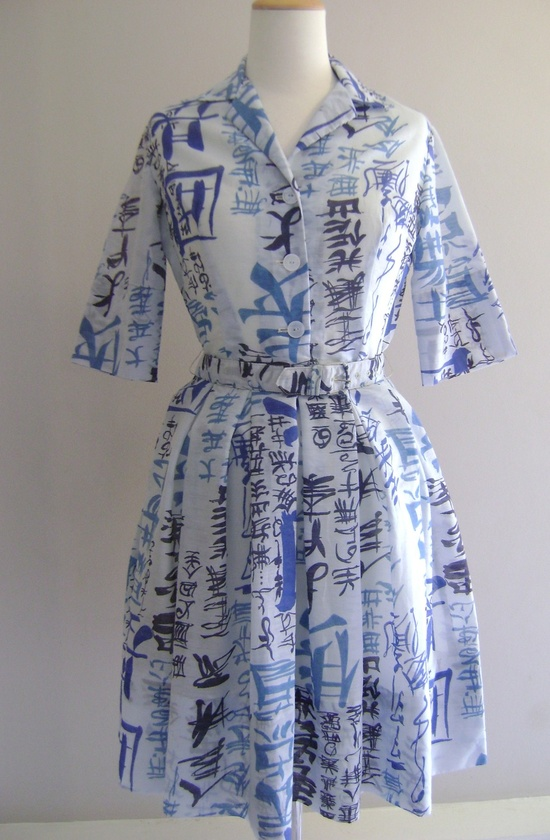 Vintage 1950s Novelty Print Asian Character Dress (this dress sold months ago or else I likely would have bought it on the spot). #vintage #1950s #fashion