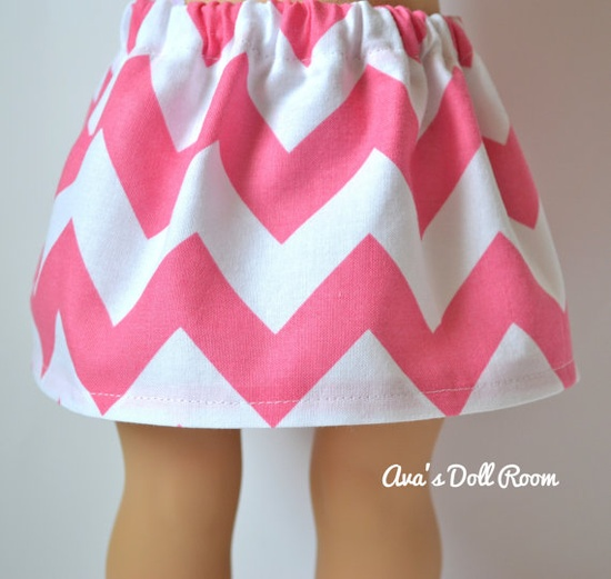 American Girl Doll Clothes  Pink and White Chevron by AvasDollRoom, $8.00