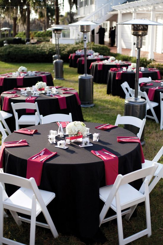 For more red wedding table ideas pinterest.com/... ... Simple black and red wedding reception decor. KT Crabb Photography. orlwedding.com