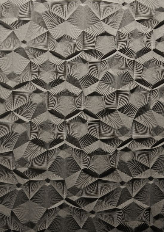 ELIJAH PORTER, CURVE MILLING: grid of nested hexagons with linework radiating from the center of each module. designed, drawn, fabricated digitally. cnc milled.