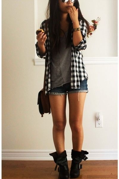 Flannel, t-shirt, shorts, boots. love this look by tamera