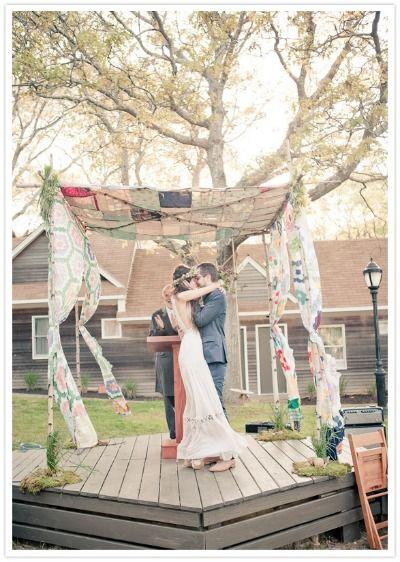Bohemian Wedding Canopy (Quilt Chuppah) from Bridal Snob - mazelmoments.com Keywords: #weddings #jevelweddingplanning Follow Us: www.jevelweddingp... www.facebook.com/...