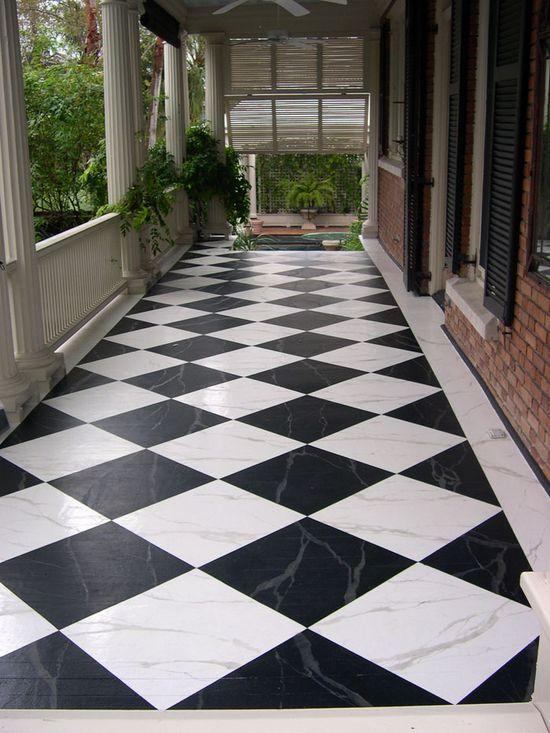 Stenciled Floor - Porch
