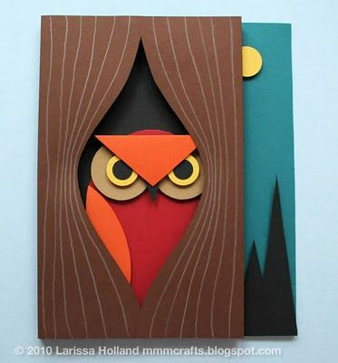 3D paper owl cards