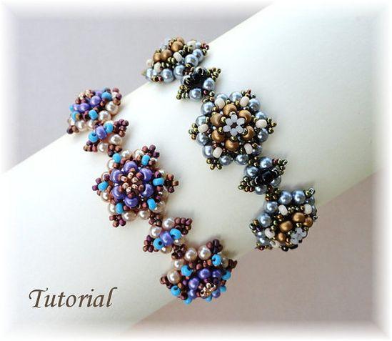 PDF for beadwoven bracelet beading tutorial - beadweaving beading pattern beaded seed bead jewelry - PERLICOPINE