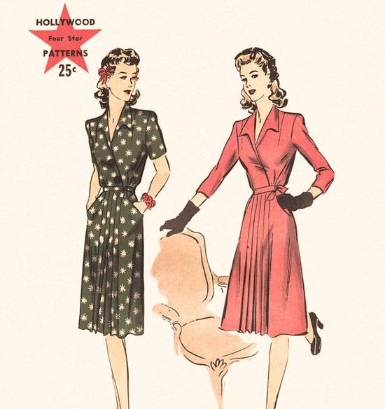Vintage 1940s Surplice Dress Pattern Hollywood 979 by finickyfinds, $31.00