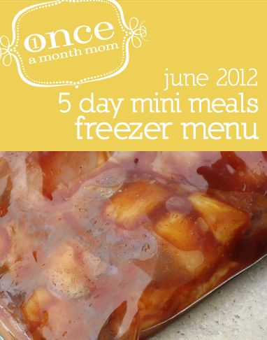 Freezer cooking menu easy to do in one afternoon. Meals for 5 days. Recipe cards, grocery lists, instructions and more.