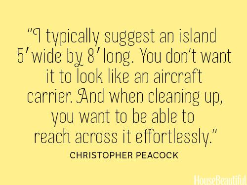 How big an island should be. housebeautiful.com #quotes #designer_quotes #kitchen_islands #kitchen #decorating #home_improvement