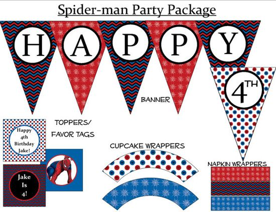 Spiderman Birthday Party - Printable Package, $15.00