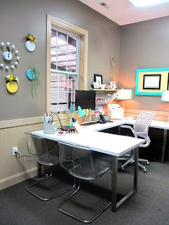 Office Design - aqua & yellow