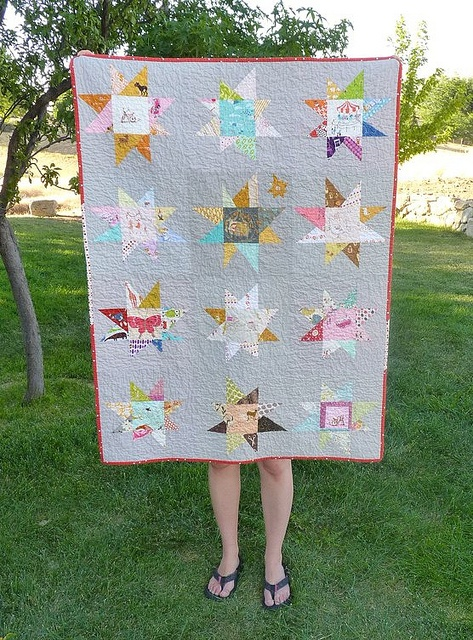 Front of the wonky star quilt