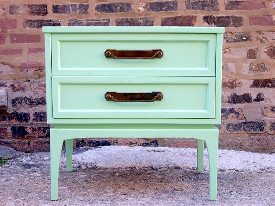 Mid-Century Mint Green Side Table. This is mint to perfection. The color is vibrant and catches the eye!