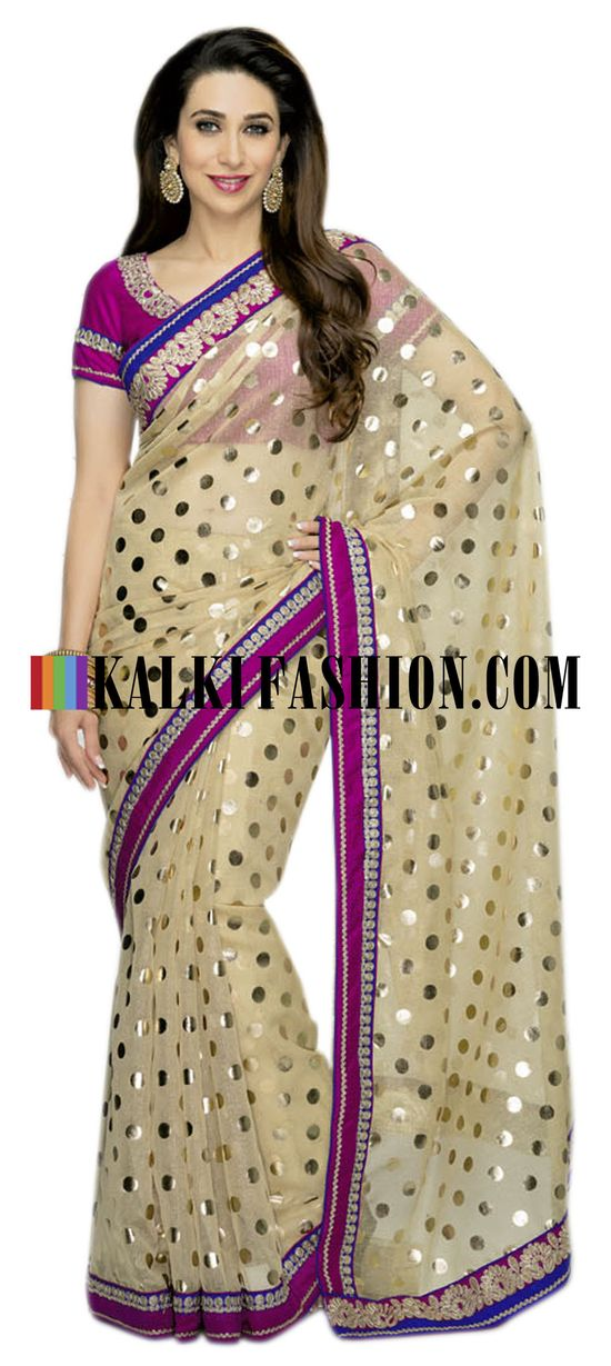 Buy it now  www.kalkifashion....  Beige net saree with polka foil work design
