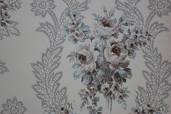 1940's Pale Rose Bouquets with Scrolls Vintage Antique Wallpaper--Made in England