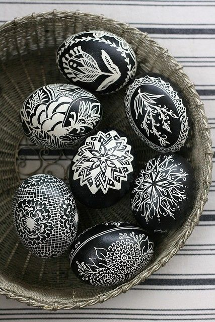 black and white easter eggs.....