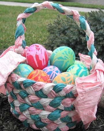 Paint-Splattered Eggs in a Handmade Paper Basket