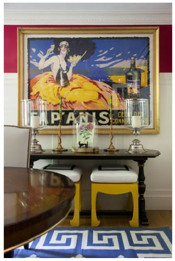 La Dolce Vita: {How great are the Greek key rug and yellow stools?}