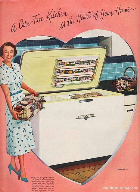 There's a lot of truth to that statement. #freezer #kitchen #woman #homemaker #housewife #1950s #ad #vintage #fifties #food #retro