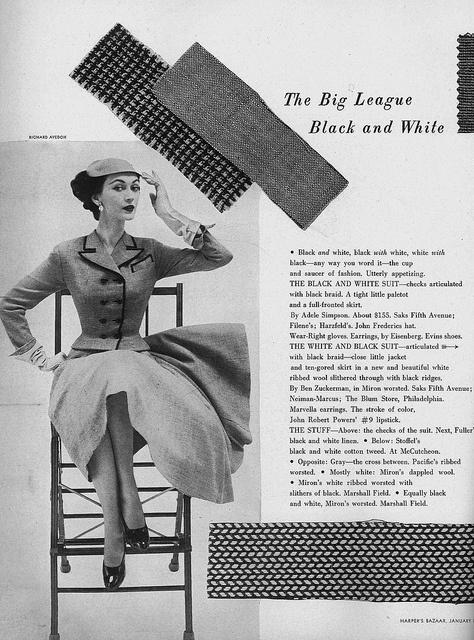 "Dovima sporting ""big league black and white"" n the January 1952 edition of Harper's Bazaar. #vintage #1950s #fashion #dress #magazine"