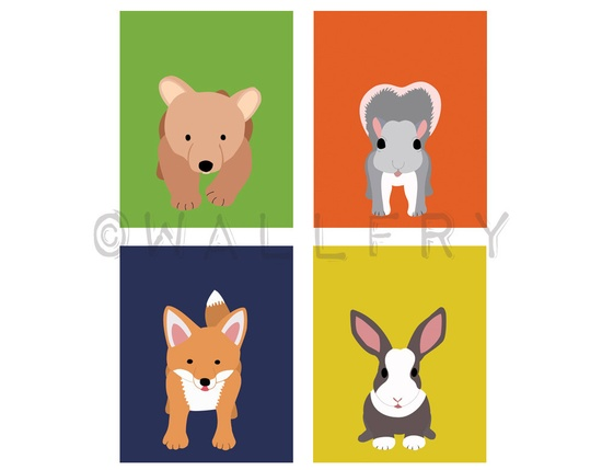 Woodland animals prints for baby. Forest critters child nursery art. ANY 4 modern 11x14 prints in citrus colors kids room. Fox, Bear. $60.00, via Etsy.