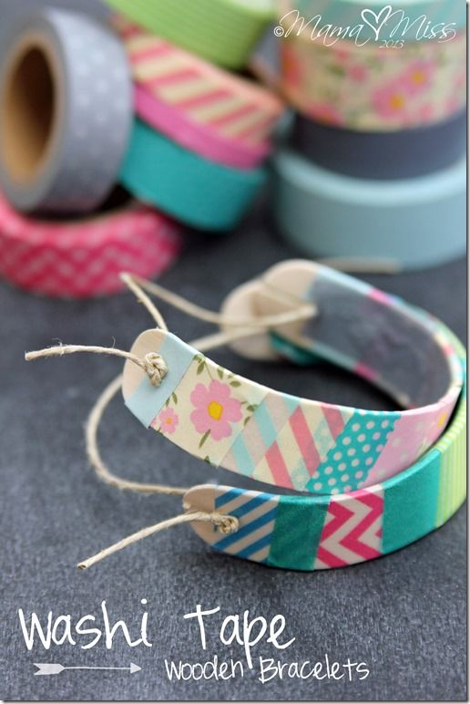 Cool! dd just got a bunch of Washi Tape and this looks fun: DIY: Washi Tape Wooden Bracelets #washitape #diy #bracelet