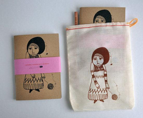 the girl who knitted love pack - handmade journal bag and pencil by Ana Raimundo