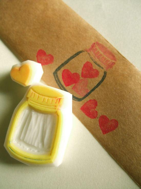LOVE hand carved rubber stamp. handmade rubber stamp. love heart. bottle. set of 2. no2. $9,00, via Etsy.