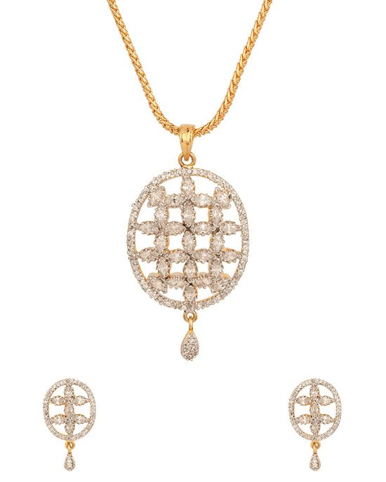 Gold Plated Pendant Set With Chic Cut-Work Design  #PendantSet