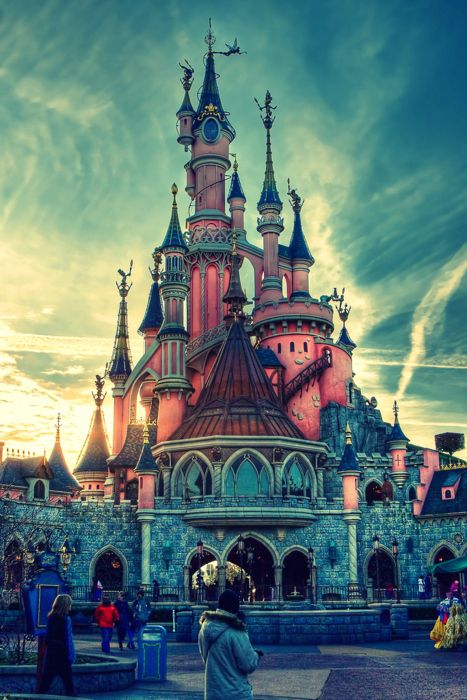 Disney land castle in Paris. They couldn't make this one look like the other Disney land castles because the others are replicas of Germany's Neuschwanstein Castle and the French don't want German castles on their property.