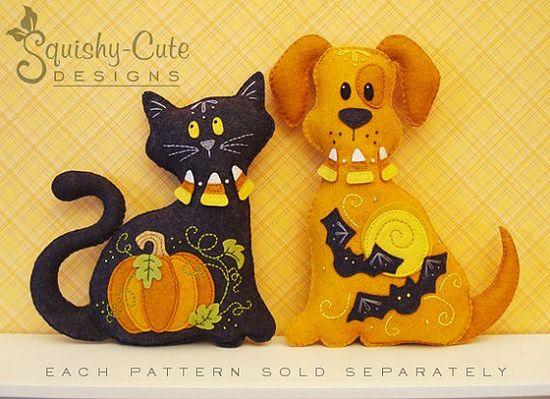 Cat Stuffed Animal Pattern Felt Plushie by SquishyCuteDesigns