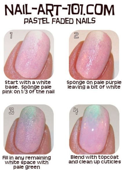 Pastel faded nails