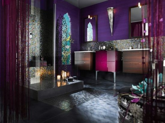 Soooo best bathroom ever!!!! MoroccanStyle Purple Bathroom