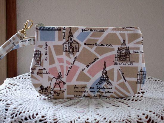 Wristlet Zipper Gadget Pouch Smart Phone Bag in The Streets of Paris