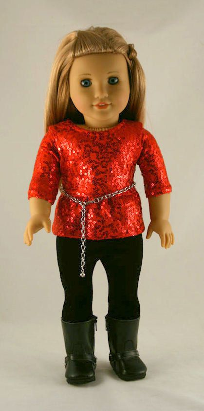 American Girl Doll Clothes - Top with Red Sequins and Peplum, Black Velvet Leggings, and Chain Belt.