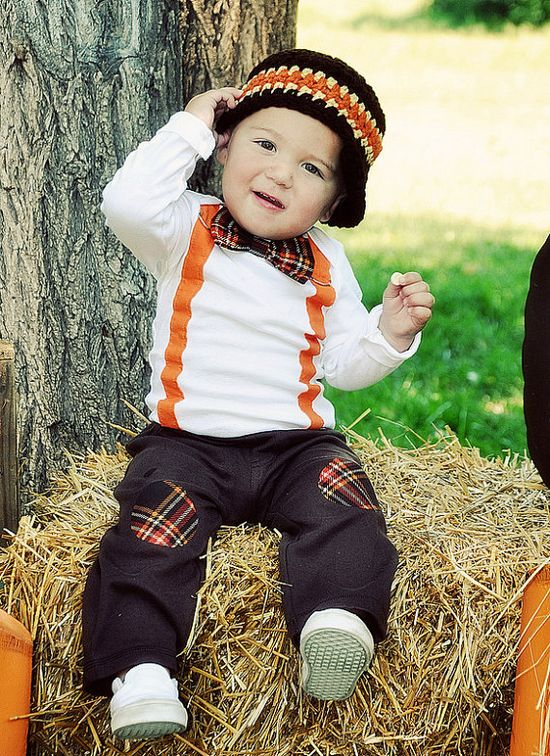 Baby Boy Tie Bodysuit with Suspenders and Bowtie. Thanksgiving Fall Harvest Plaid.  Fall Photo Prop