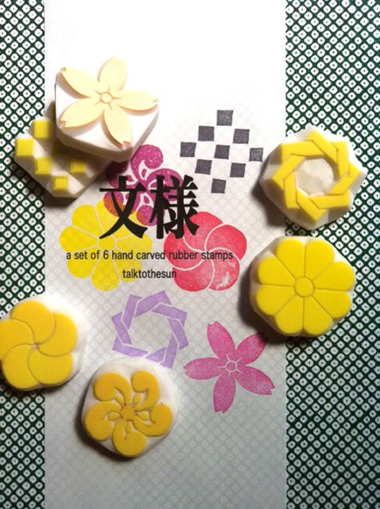 MONYOU hand carved rubber stamp - hand carved stamp - japanese traditional motif - 6pcs - wood box - no2. $52.00, via Etsy.