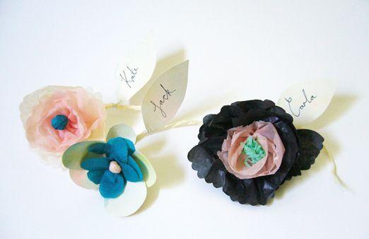 Handmade paper flower place settings