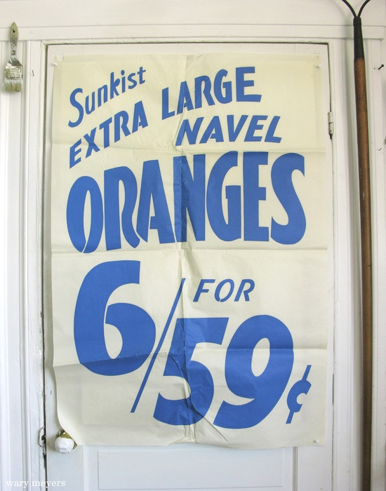 Vintage Grocery Poster - 1960s #vintage #typography #design #graphicdesign #blue #oranges #type #warymeyers #poster