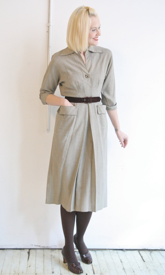 1940s Dress // vintage 1940s dress // Pat Hartly Houndstooth.