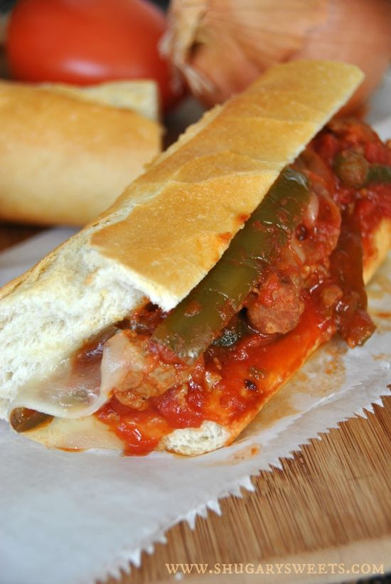 Slow Cooker Sausage and Peppers: delicious, hearty meal made in your #crockpot #dinner www.shugarysweets...