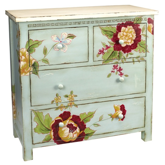 Here's a fun idea! Commission a local artist to update your furniture pieces! It will help them out, and you will have a one of a kind piece of art. Jardin Chest